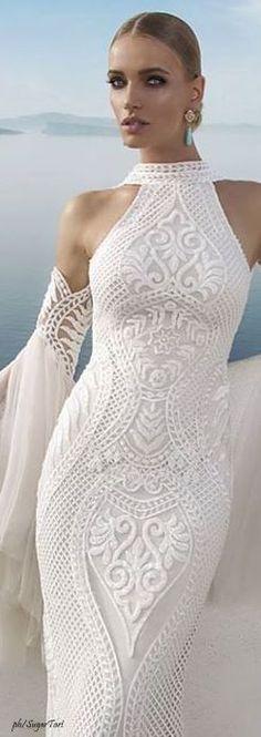 Inna Erten white maxi lace wedding dress, women fashion outfit clothing stylish apparel @roressclothes closet ideas