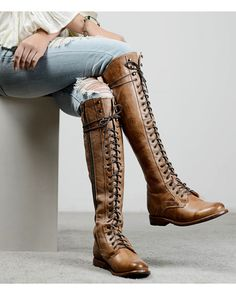 Bed Stu Women's Della Tall Lace-Up Boots – Round Toe - Kniehohe Stiefel Tall Lace Up Boots, Leather Lace Up Boots, Lace Up Riding Boots, Laced Boots, Tall Brown Boots, Mid Calf Boots, Thigh High Boots, Galaxy Converse, Botas Sexy