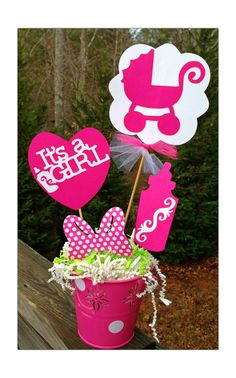 It's a girl baby shower centerpiece  by RaeofSunshinedesign, $10.50