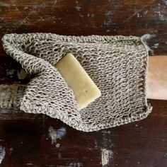 Hand-knitted Linen Body Wash Cloth for gently exfoliation by FOg Linen. Loop for easy hang dry. 15 x 20cm.  Did you know that linen has natural anti-bacterial properties? It's true.