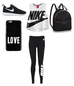 """""""Black and white sporty outfit"""" by taylor-jenkins06 on Polyvore featuring NIKE and Givenchy"""