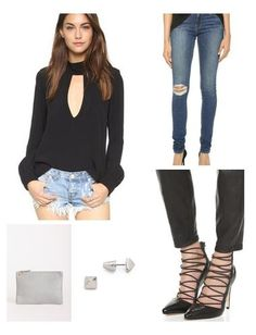Wear this flirty black top with super flattering distressed jeans by Frame and caged pumps by Alice + Olivia. Steel gray clutch and geometric stud earrings are the only accessories you need for this effortlessly sexy look.