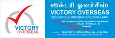 """We specialize in providing admissions in USA, UK, Canada, Australia, New Zealand, France, Singapore,UAE  and many other overseas educational destinations. """"Victory"""", as it indicates, is to attain success in every step of your life. We offer the following immigration consulting services Skilled Worker Immigration for Canada , Australia & Denmark South Africa – Quota Work Permit Business Immigration for Canada , Australia Provincial Nominee Programs"""