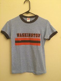 SOLD Ringer Vintage T shirt Washington Retro Adult Small by MY2NDJOB
