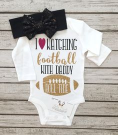 I Love Watching Football With Daddy Long Sleeve Bodysuit Girls Football…