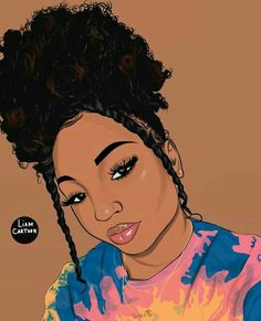 Black Love Art, Beautiful Black Girl, Black Girl Art, Black Girl Cartoon, Dope Cartoon Art, Black Art Painting, Black Artwork, Drawings Of Black Girls, Girl Drawings