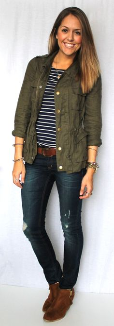 Today's Everyday Fashion: Military Jacket, 12 Ways — J's Everyday Fashion got to looser those shoes