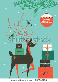 reindeer/christmas vector/illustration template - stock vector