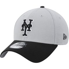 cfb1783409120 Men s New York Mets New Era Gray Black Team Classic 39THIRTY Flex Hat