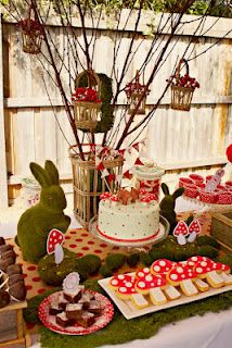woodland birthday party with red mushrooms and green grass accents sugar mushroom cookies