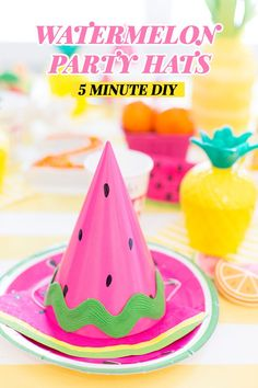 DIY Watermelon Party Hat {VIDEO An easy DIY Party Hat in a cute watermelon design that's perfect Watermelon Birthday Parties, Fruit Birthday, Girl 2nd Birthday, Fruit Party, First Birthday Parties, Birthday Party Themes, Elmo Birthday, Dinosaur Birthday, Birthday Ideas