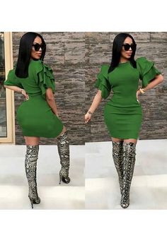 e6d892714ae9 Green Cascading Ruffle Round Neck Elbow Sleeve Mini Dress