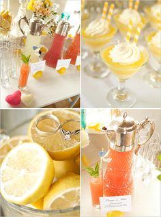 lemon shower bridal wedding grapefruit party theme orange lemon lime tangerine yellow green decor