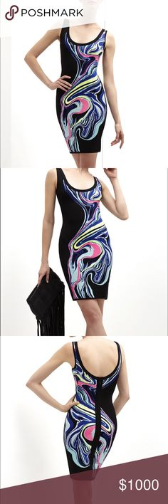 """Herve Leger """"Farah"""" Optic Multicolor Ripple Dress NWT and never worn, all tags including the exterior sewn in tag are intact. Awesome ink like jacquard design with neon pink and yellow sequins throughout. Rounded neck and zip back closure. Measures approximately 33.5"""" from shoulder to hem. Body on fit with stretch, true to size, and hits above the knee. Herve Leger Dresses"""