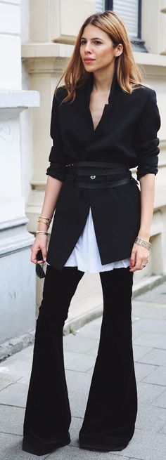 Black And White Flared And Suited Outfit Idea by MAJA WYH