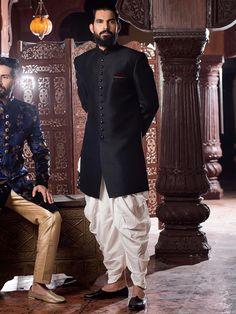 Buy Samyakk Black Silk Solid Indo Western Sherwani online in India at best price. Mens Indian Wear, Mens Ethnic Wear, Indian Groom Wear, Indian Men Fashion, Groom Fashion, Ethnic Fashion, Wedding Dress Men, Indian Wedding Outfits, Wedding Men