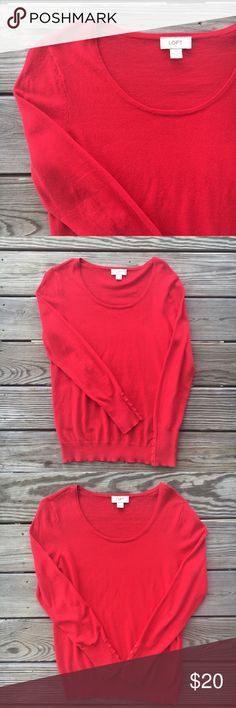 LOFT Red Sweater LOFT red crew neck sweater with buttons on bottom of sleeves. EUC, worn once. LOFT Sweaters Crew & Scoop Necks