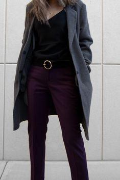 Purple Pants, Black Pants, Burgundy Pants, Fall Outfits, Outfit Winter, Satin Cami, Blazer, Black Satin, Trousers