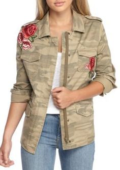 True Craft Girls' Embroidered Camo Jacket - Olive Camo - L