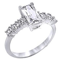 14K White Gold Over 1.75 Ct Baguette Cut Aaa CZ Engagement Ring Women'S by JewelryHub on Opensky