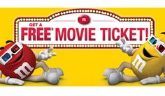 Get aFree Movie Ticket With M&Ms Purchase Offer valid thru 11:59:59 pm 12/31/16 on purchase of 3 specially-marked M&MS Brand Chocolate Candies (9.4 oz. or larger) or 1 specially-marked M&MS Brand Chocolate Candies (56 oz). Submissions must be received by 11:59:59 pm 1/16/17. Text submission: after validation reply text msg is sent with $12 movie certificate reward code.   Free Movie Ticket With M&Ms Purchase