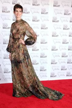 Anne Hathaway attends the 2012 New York City Ballet Fall Gala at the David H. Koch Theater, Lincoln Center on September 20, 2012 in New York City. Source: Jamie McCarthy. Couture: Valentino. Shoes: Miu Miu.