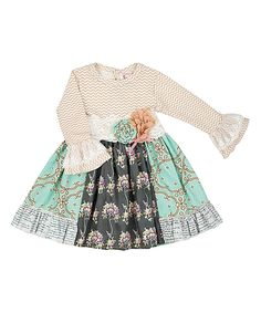 Look at this Haute Baby Teal & White Floral & Abstract Dress - Toddler & Girls on #zulily today!