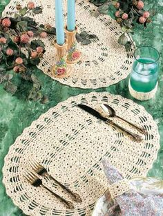 Table Setting: Crochet this three-piece place setting to create an elegant backdrop for fine dining.