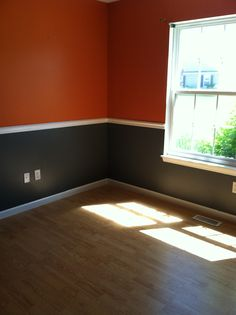 Just finished the living room walls with orange/ grey walls. Will be accenting with aqua and dove grey/white.