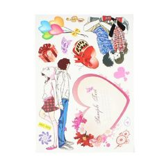 "Amico Room Decor Paper Foam Made Cartoon Lovers Heart Pattern Sticker Decal by Amico. $3.87. Material : Paper, Foam;Main Color : As Picture Show. Weight : 36g. Dimensions (Max.) : 21.5 x 6.2cm/ 8.5"" x 2.4"" (L*W). Product Name : Sticker Decal;Sticker Design : Two Pairs Cartoon Lovers, Heart, Balloon. Package Content : 1 x Sticker Decal. Paper and foam made sticker Decal with two pairs Cartoon Lovers, Hearts, Ballon shape, a good decor for windows, wall, car auto, etc..."
