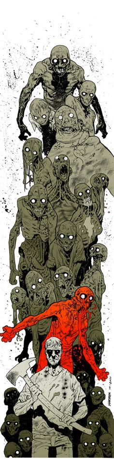 I don't even care about zombies or The Walking Dead, but this illustration by James Harren is pretty great.