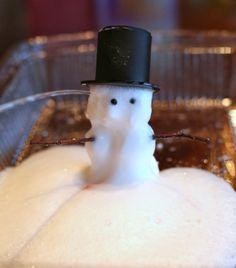 """Foaming Dough you can use to make Magic Foaming Snowmen that """"melt"""" into an icy puddle of frothy foam! (mix baking soda, salt, dish soap and water to make the dough, then squirt or pour vinegar on top)  :)"""