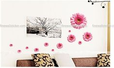 Pink Daisies With Different Sizes Wall Sticker