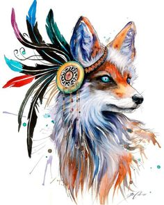 Native fox watercolor painting