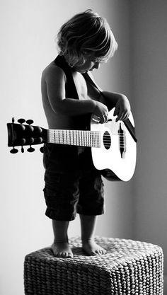 best friend - best music - guitar - rock - little boy - cute kids