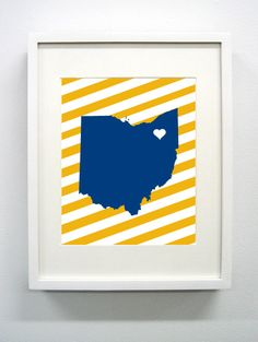 Kent Ohio State Giclée Print  8x10  Blue and Gold by PaintedPost, $15.00 #paintedpoststudio - Kent State University - Golden Flashes- What a great and memorable gift for graduation, sorority, hostess, and best friend gifts! Also perfect for dorm decor! :)