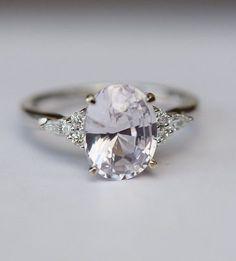 Lavender sapphire ring Engagement ring 14k white gold diamond ring 2.92ct oval light lavender sapphire ring Campari design by Eidelprecious