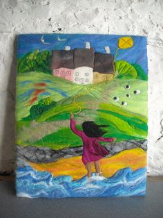felt picture felt painting kite flying por SueForeyfibreart en Etsy, $125.00
