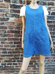 8639c41d4db9b Vintage 90s denim pinafore dress with pockets - retro dress - festival dress  - grunge dress - UK 12/M