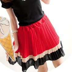 Tokyo Fashion  Color-Block Pleated Chiffon Skirt from YesStyle $40