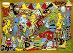 Bonhams : George Lilanga di Nyama (Tanzanian, 1934-2005) Village party