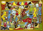 Bonhams : George Lilanga di Nyama (Tanzanian, 1934-2005) Village party