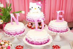 Triplets birthday cake - Hello Kitty theme.  I know I don't have triplets, but this would be sooo cute!