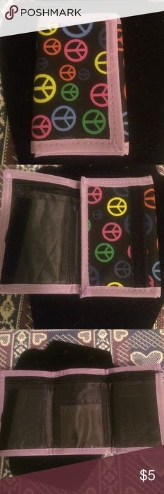 Peace sign wallet NWOT, Velcro close, two main pockets one with zipper, 3 card slots Bags Wallets