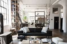 Key Traits of Industrial Interior Design  **undesigned but white shell, simple black and wooden elements**