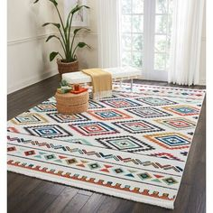 Bungalow Rose Tribal Décor White Area Rug Rug Size: Rectangle x Light Blue Accent Chair, Blue Accent Chairs, Diy Carpet, Rugs On Carpet, Carpet Ideas, White Carpet, White Area Rug, Blue Area Rugs, Tribal Decor