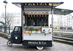 A huge trend in Paris.the street food trucks.Mozza Co. I want this cute food truck!