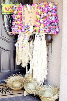 Treat your guests to their very own lei, grass skirt, and straw hat as soon as they arrive at your luau. Not only are they the traditional way to welcome guests, as they also make fun photo booth props and even party favors! See more party ideas and share yours at CatchMyParty.com Luau Theme Party, Hawaiian Luau Party, Moana Birthday Party, Moana Party, Summer Birthday, Party Themes, Party Favors, Birthday Parties, Party Ideas