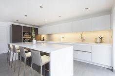 White and Grey Glass Handleless Nolte Matrix Art Kitchen