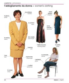 Learning Italian Language ~ women's clothing